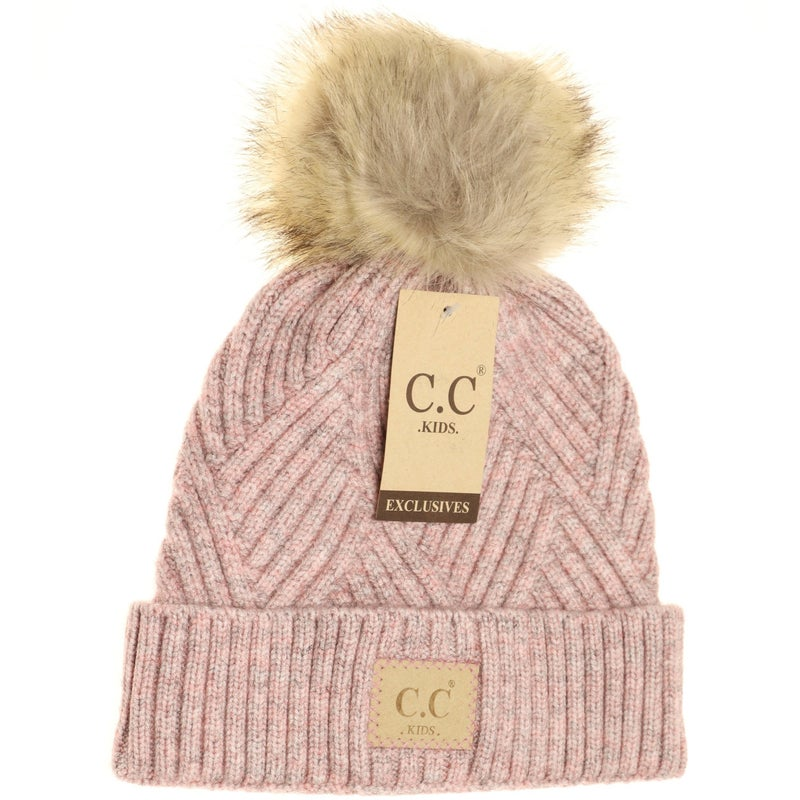 C.C. Heathered Rose Fur Pom Beanie For Girls