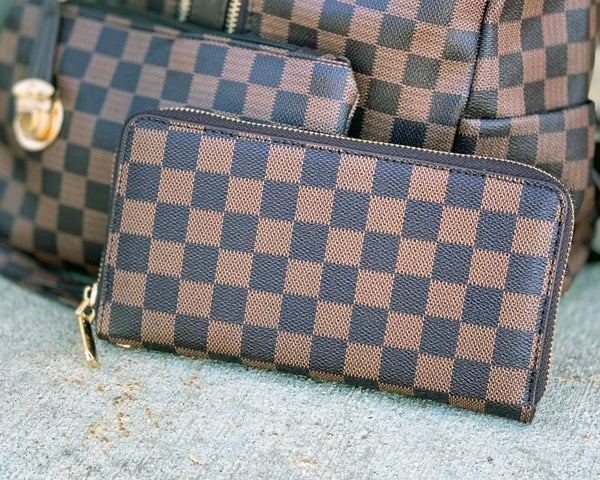 Brown Checkered Wallet With Strap