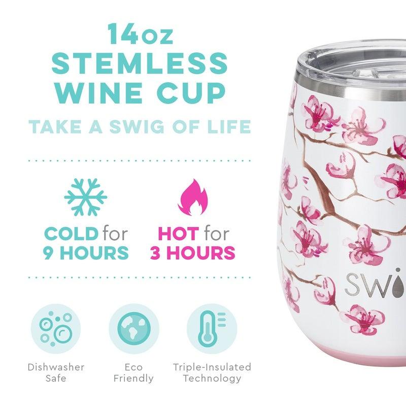 Swig Cherry Blossom 14oz Stemless Wine Cup