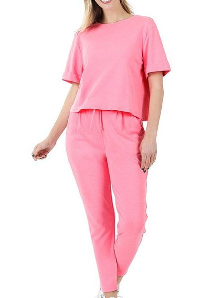 Bright Pink Loungewear Set For Women