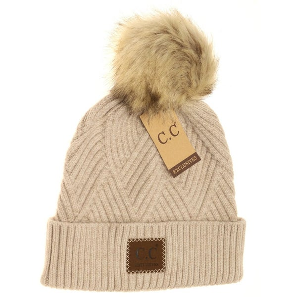 C.C. Heathered Beige Fur Pom Beanie For Women
