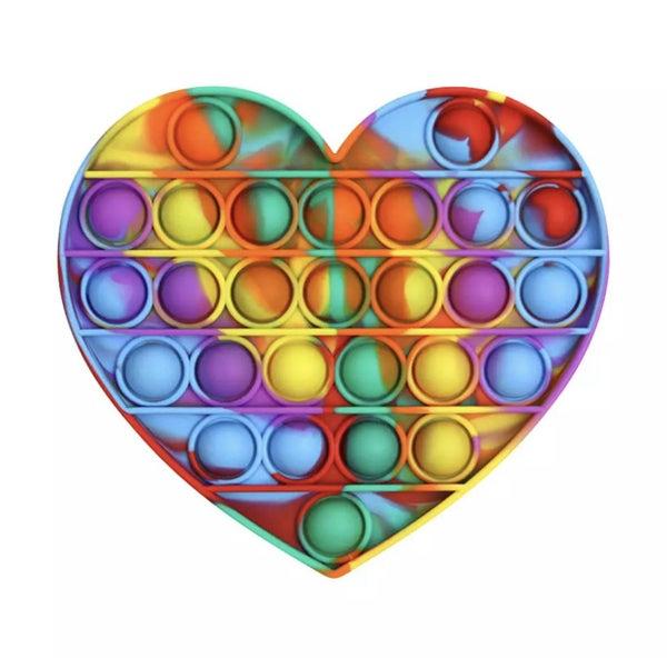 Rainbow Tie Dye Heart Fidget Popper *Final Sale*