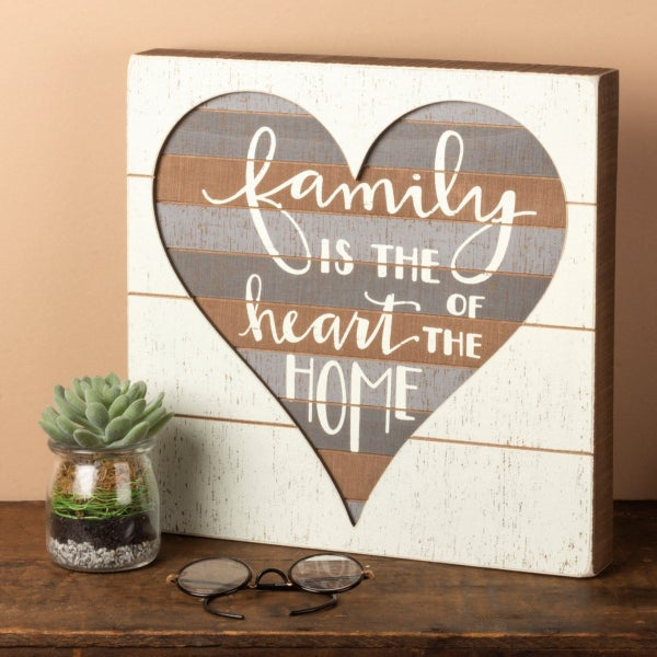 Family Is The Heart Of The Home Wood Sign
