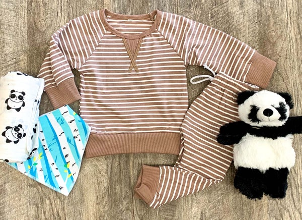 Mocha Stripe 2pc Outfit Set For Baby
