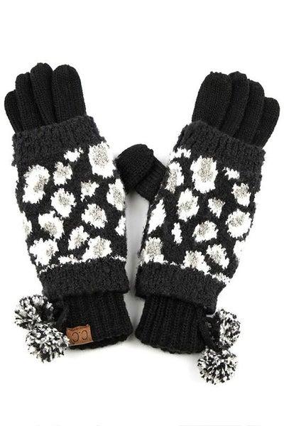 C.C. Black Animal Print Gloves For Women