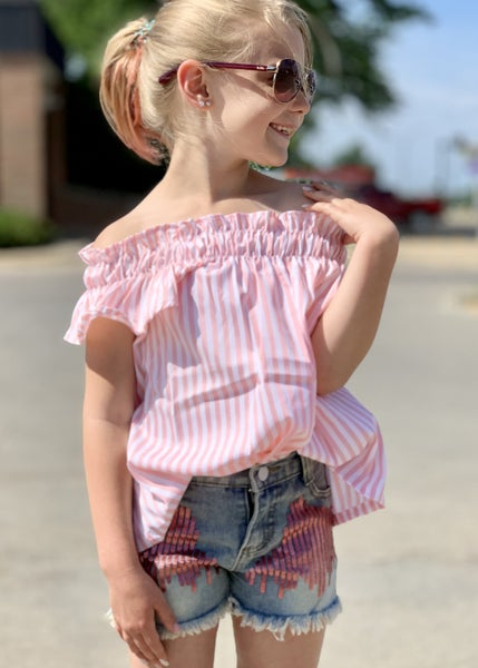 Pink Pin Stripe Outfit Set For Girls