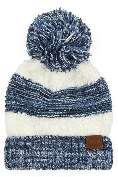 C.C. Heathered Denim Sherpa Knit Pom Beanie For Adults *Final Sale*