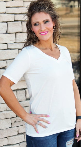 Everyday Ivory V-Neck Tee For Women *Final Sale*