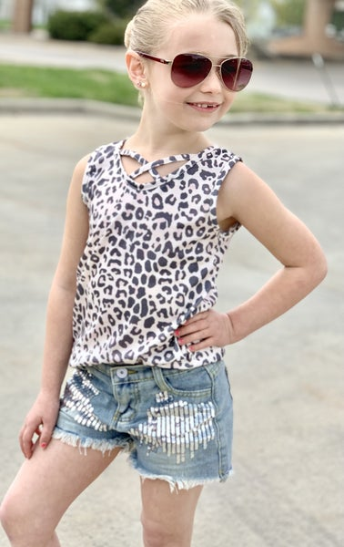 Criss Cross Animal Print Tank For Girls
