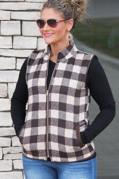 Brown Plaid Vest For Women