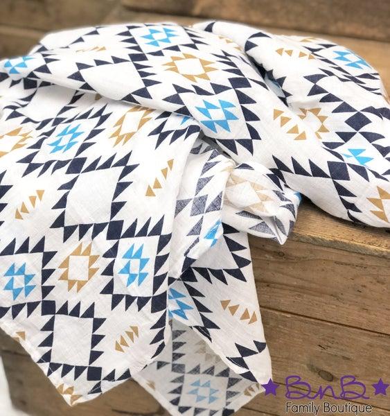 Blue Aztec Muslin Baby Blanket *Final Sale*