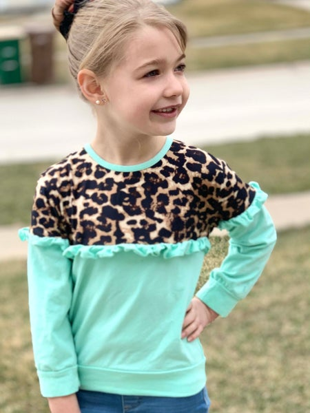 Sweet & Sassy Mint Top For Girls