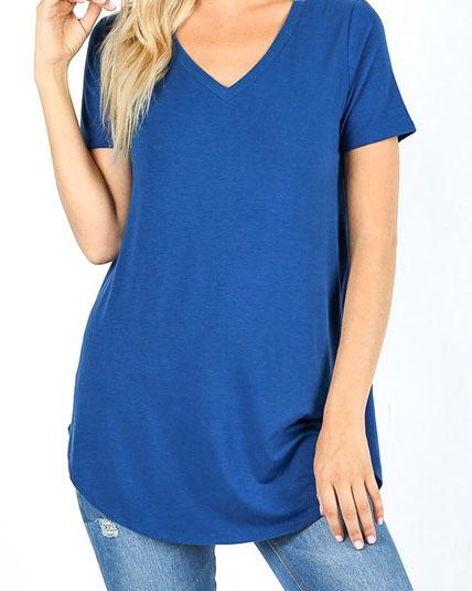 Mid Navy Essential V-Neck Top For Women *Final Sale*