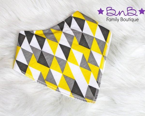 Gray & Yellow Triangle Bandana Bib