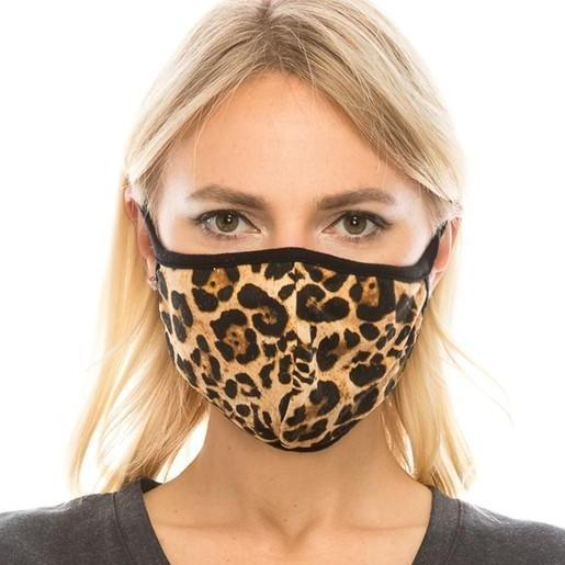 Leopard Print Facial Protector With Filter Pocket For Adults