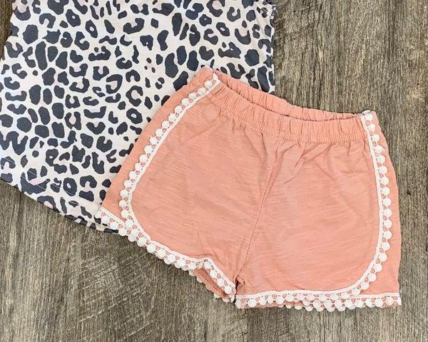 Blush Pink Frill Shorts For Girls