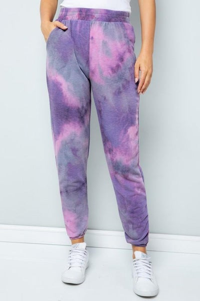 Purple Mix Tie Dye Joggers For Women *Final Sale*