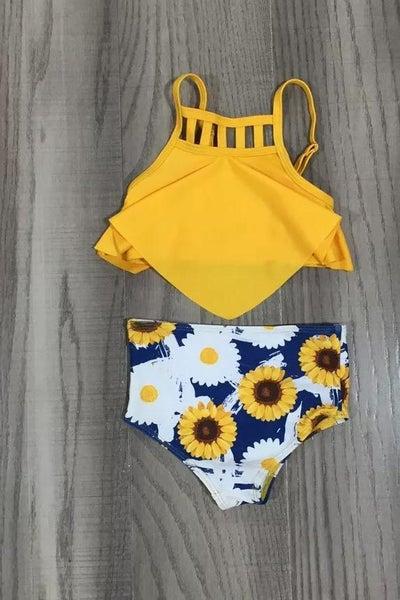 Sunflowers High Waist Bikini For Girls 2pc *Final Sale*