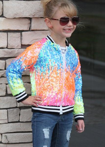 Rainbow Sequin Jacket For Girls
