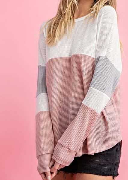 Rose Color Block Waffle Top For Women