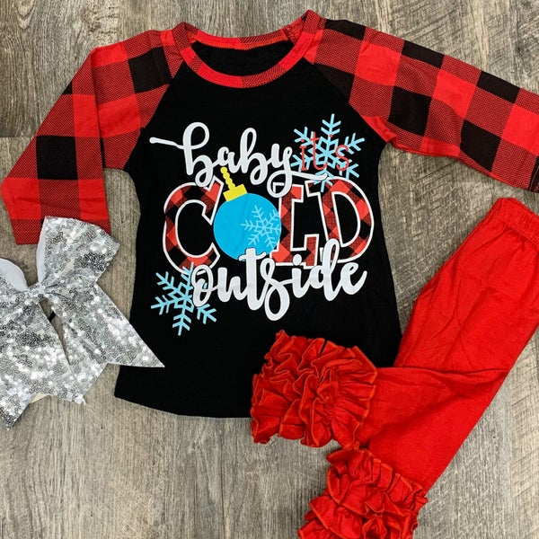 Baby It's Cold Outside Raglan Top For Girls