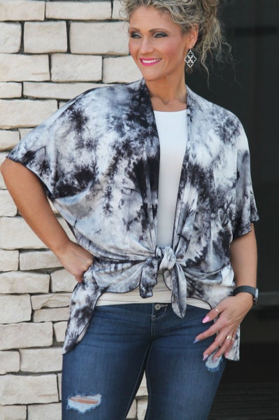 Black Tie Dye Cardigan For Women