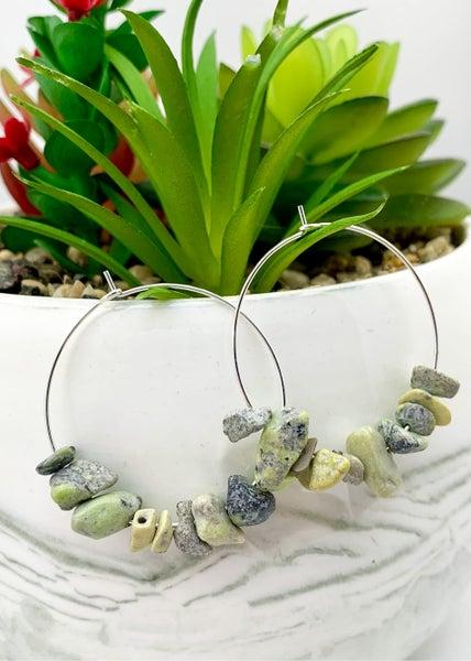 Earth Greens Natural Gem Stone Hoop Earrings *Final Sale*