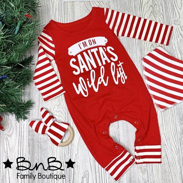 I'm On Santa's Wild List Romper - Baby