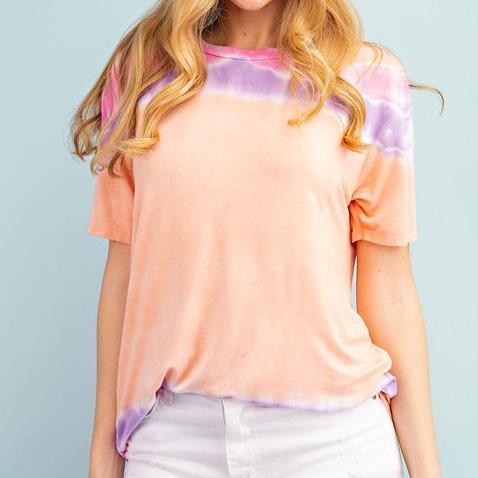 Peach Stripe Tie Dye Top For Women