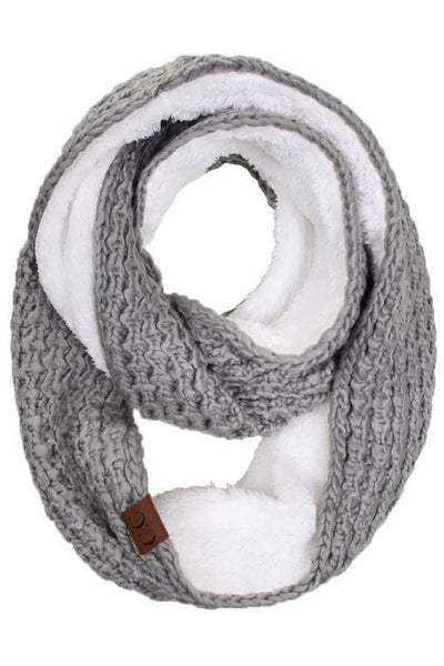 C.C. Gray Sherpa Lined Infinity Scarf For Women