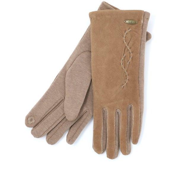 C.C. Caramel Suede Touchscreen Gloves For Women