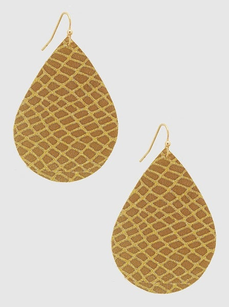 Gold Sparkle Leatherette Earrings *Final Sale*