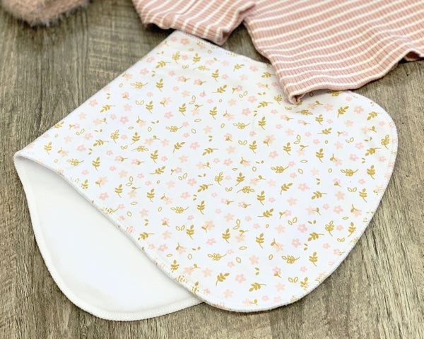 Light Pink Flowers Contoured Burp Rag For Baby