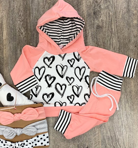 Scribble Hearts Jogger Set For Girls