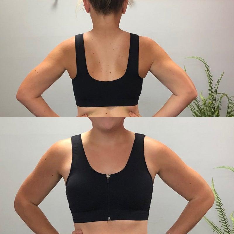 Zipper front sports bra