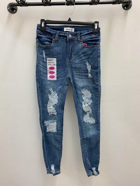 2103 high rise distressed w/ repair skinny jeans