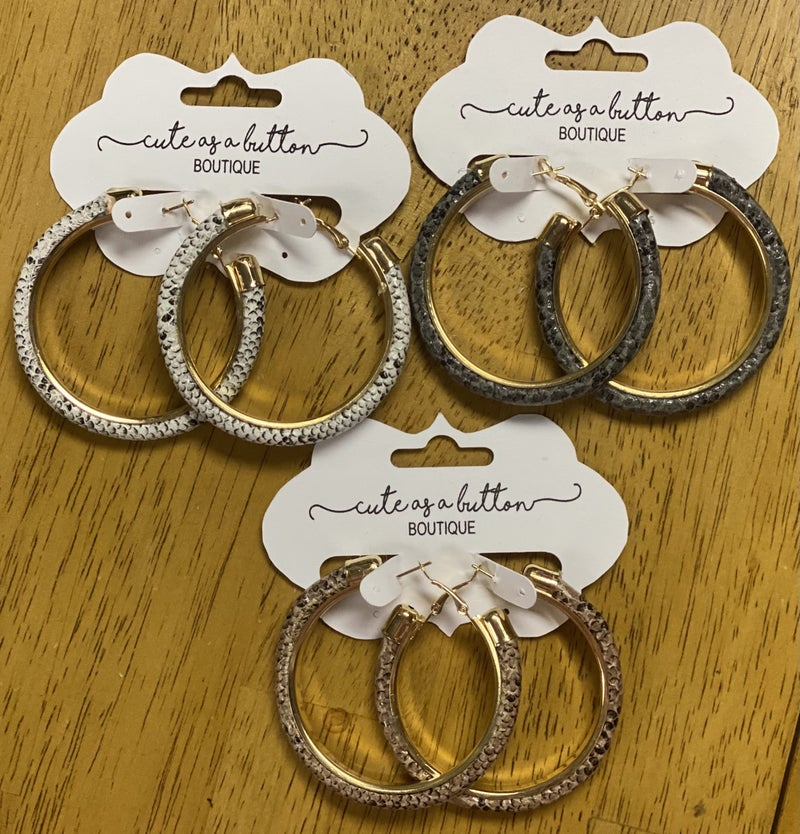 Snakeskin hoop earring