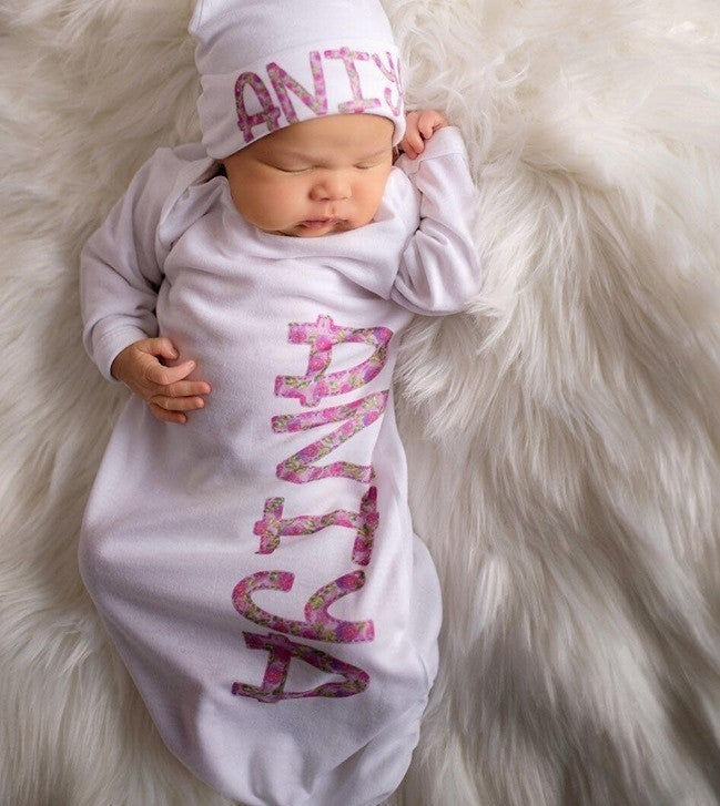 Precious Name Girl Gown SET (Hat, Bib and Gown)