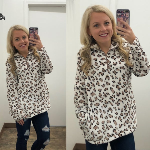Leopard soft plush pullover