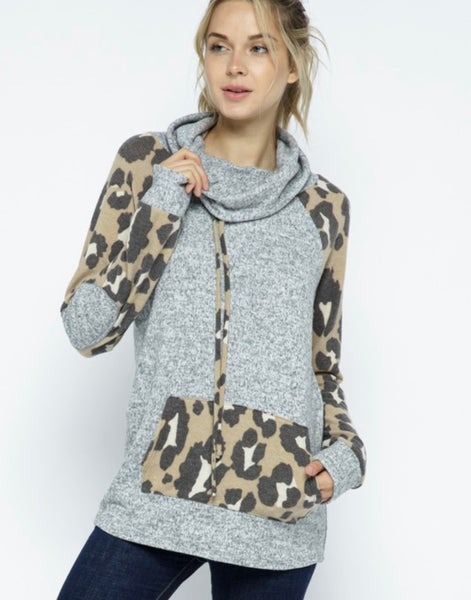 Leopard cowl neck with pocket