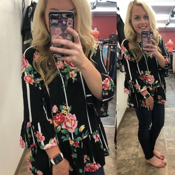 Stripe and Floral Mixed Top
