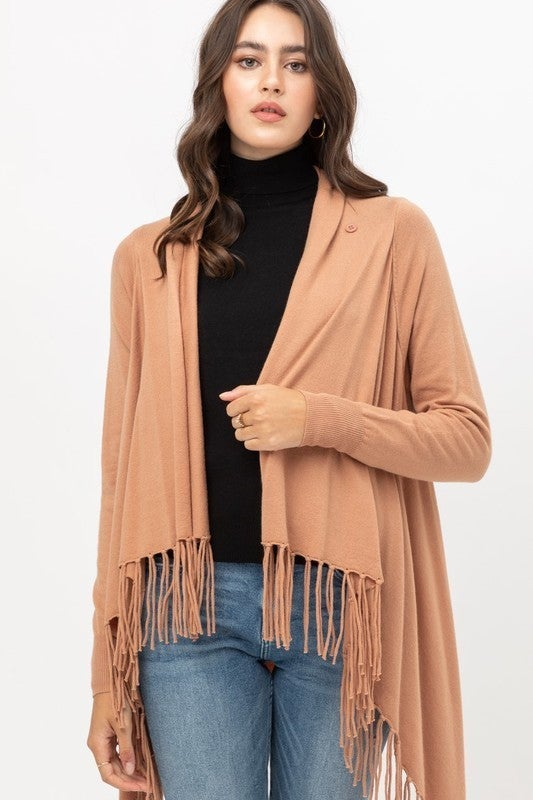 Fringed open front wrap cardigan