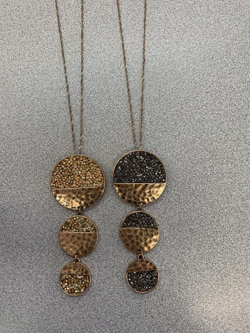 Three-Circle Rhinestone Necklace W/ Earrings