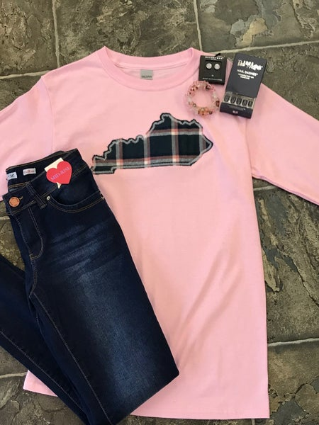 Pink long sleeve tee with plaid state