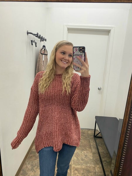 Chunky chenille sweater