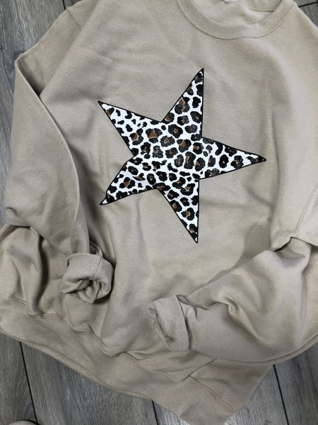 2152 Oatmeal Leopard Star Crewneck Sweatshirt