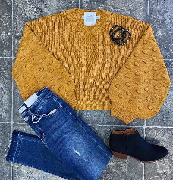 Mustard balloon Sleeve sweater