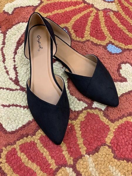 Black Suede Ballerina Flat