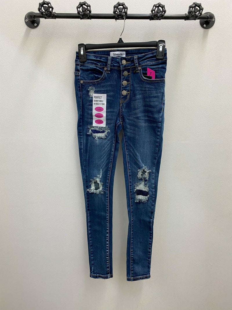 2104 hi rise dark wash distressed skinny jeans