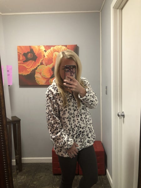 Gray and White Leopard Plush Pullover